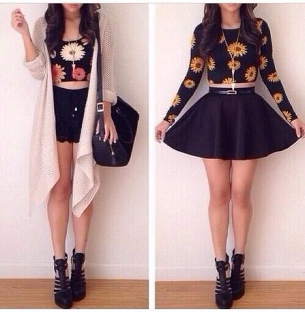 t-shirt sunflower black crop tops belt skirt shoes shirt floral crop tops
