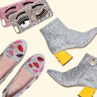 shoes ferragni glitter loafers kiss lips silver metallic new season spring outfits party party outfits fashion blogger eyes glitter shoes silver shoes mid heel boots smoking slippers flats flirting lip print summer summer outfits