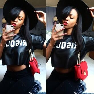 black t-shirt swag dope urban black girls killin it hat beautiful trill cute african american red lipstick style black white