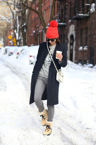this time tomorrow blogger pom pom beanie winter boots duck boots grey jeans kenzo kenzo sweater