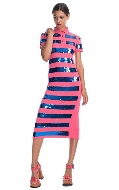 Striped Sequin Knit Polo Dress by Marc Jacobs - Moda Operandi