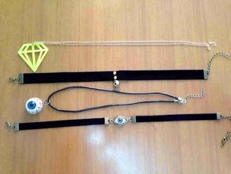 jewels style eyes diamonds eyes charms diamond charm choker necklace necklace black velvet chain