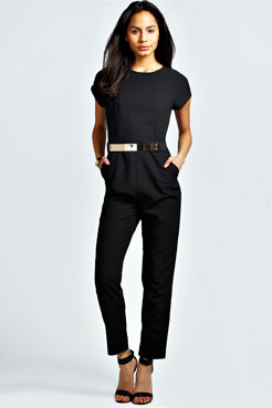 Sofia Short Sleeved Woven Belted Jumpsuit at boohoo.com