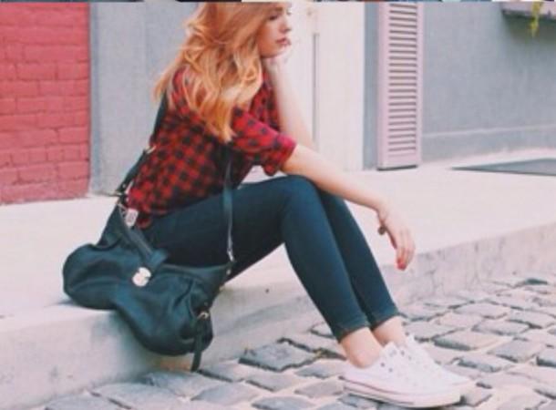 shirt plaid skirt jeans