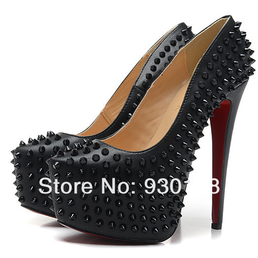 fashion black leather high heel women pumps!sexy studded platform