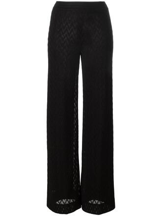 women black silk pattern pants