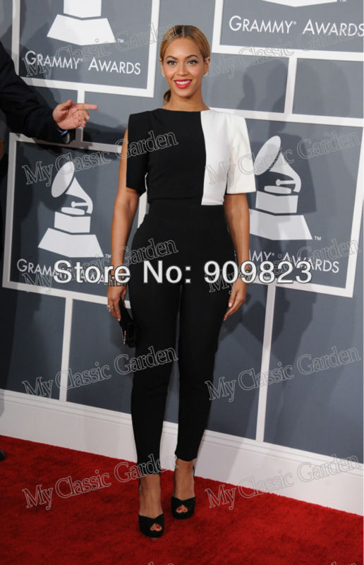 2013 Grammys Beyonce Knowles Round Neck Black And White Designer Suits Jumpsuit 2013-in Celebrity-Inspired Dresses from Apparel & Accessories on Aliexpress.com