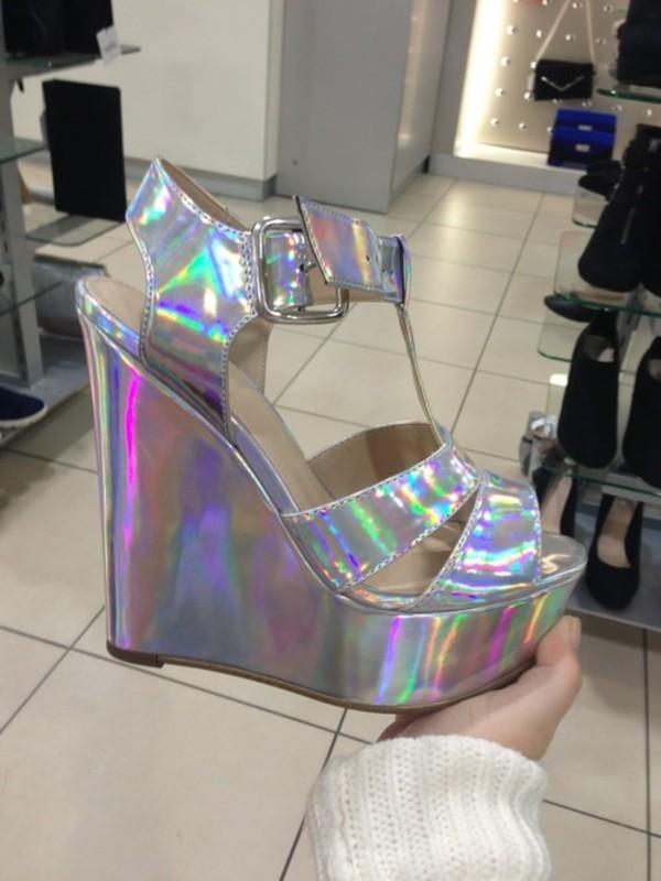 shoes heels wedges silver high heels holographic platform shoes holographic wedges
