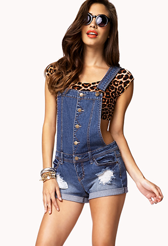Blue Jeans Babe Overall Shorts | FOREVER21 - 2046941174