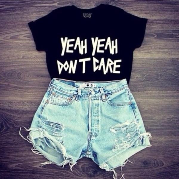blouse t-shirt black t-shirt oversized shorts cut offs summer yeah yeah don't dare black shirt light blue denim denim shorts ripped shorts shirt top