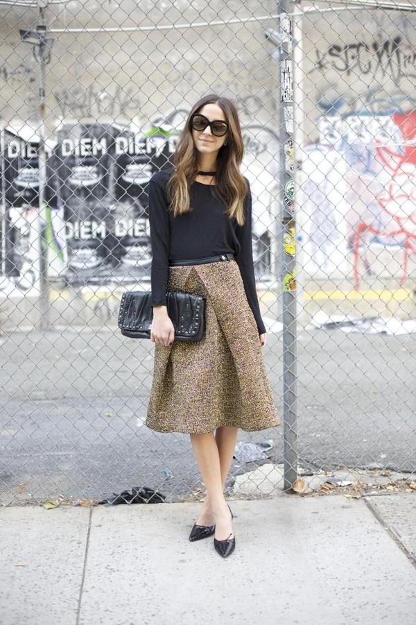 something navy t-shirt skirt shoes sunglasses bag