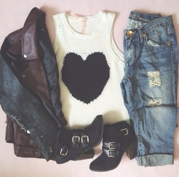 jacket tank top jeans shoes
