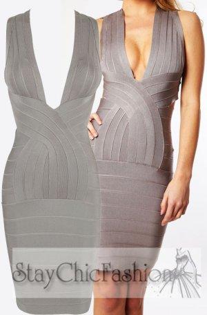 Grey Deep V Neck Bodycon Dress With Cross Back [Grey Deep V Neck] - $98.00 : Cheap Bodycon Dresses Under $100