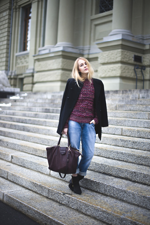 tiphaine's diary sweater coat bag jeans shoes