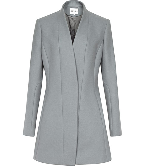 Delaney Grey Seam Detail Fit And Flare Coat - REISS