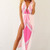 Pink Longer Lengths Dress - Pink Printed V-Neck Maxi with | UsTrendy