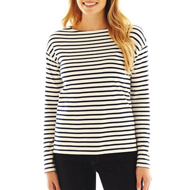 jcp™ Striped Long-Sleeve Boatneck Tee - JCPenney
