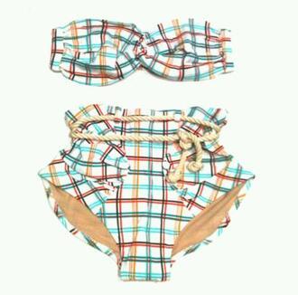 swimwear bikini bikini top bikini bottoms summer rope cute bandeau high waisted
