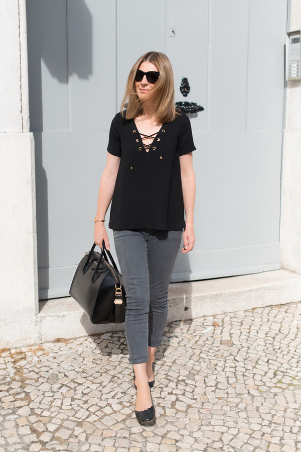 the working girl top jeans bag sunglasses jewels