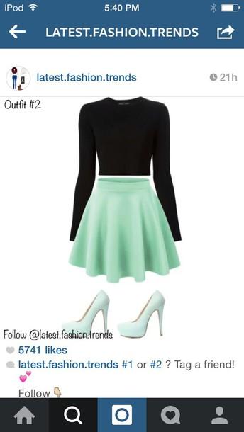 skirt mint skirt black top