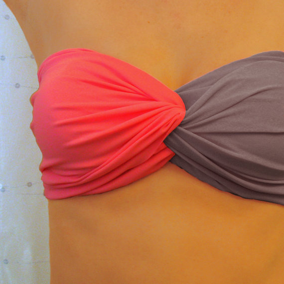 Hot Pink and Grey Bandeau Top  Twisted Spandex Blend by endoriwear