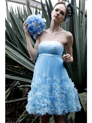Buy Beautiful Blue Appliques A-line Strapless Mini Homecoming Dress under 200-SinoAnt.com