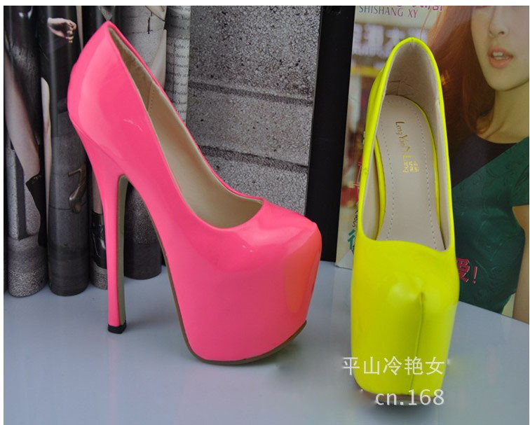 2013Fashion Utra High heels16cm Nude Neon Yellow Pink  Thin Heel  Women's Pumps  High Heels Red Bottom 15.5cm Sexy Sandals Shoes-in Pumps from Shoes on Aliexpress.com