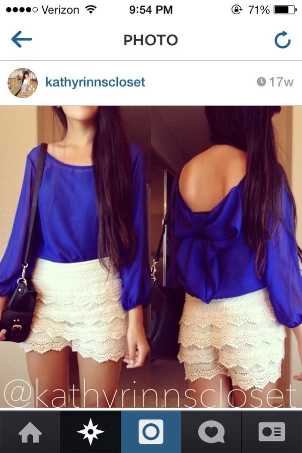 shorts blue bow top back white crochet lace short blouse