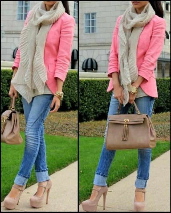 jacket pink blazer shoes boyfriend jeans beige handbag