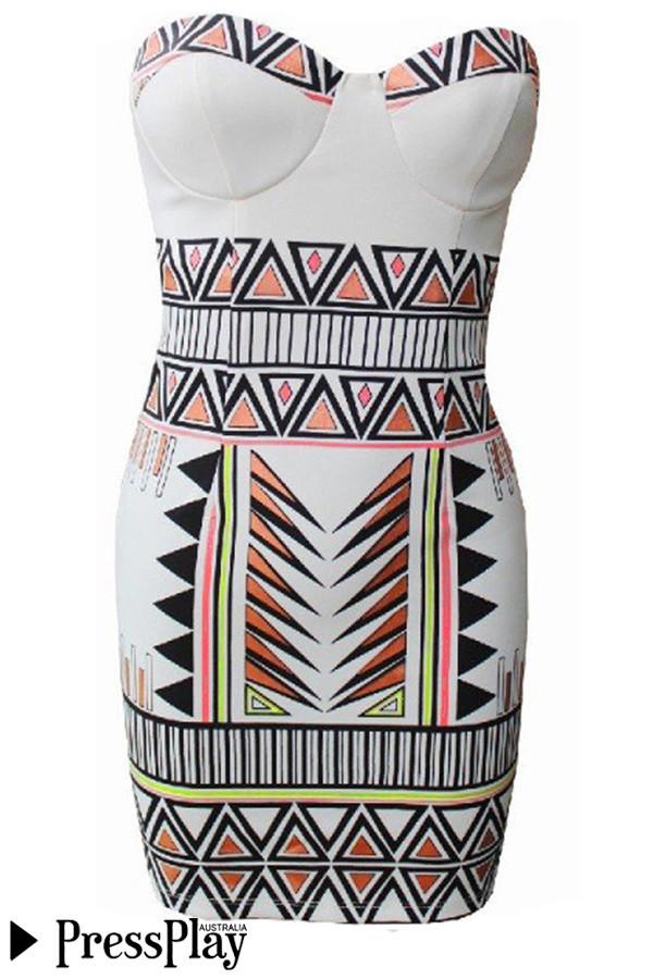 Unique Vibrations Strapless Bodycon Dress in Geometric Print - PressPlay Fashion Australia