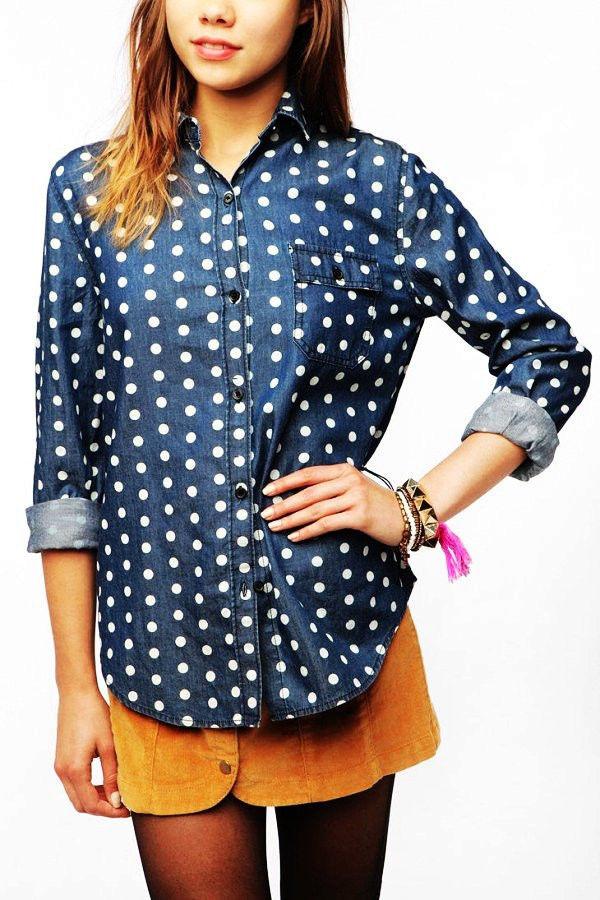 RARE Urban Outfitters BDG Polka Dot Button Down Denim Shirt Chambray s $69 | eBay