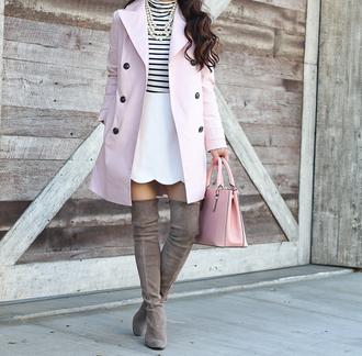 stylish petite blogger coat skirt shoes sunglasses jewels make-up jeans blouse dress