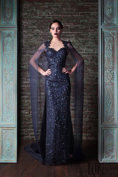 dress cape blue dress shiny slim dress