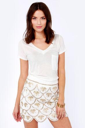 Pretty Ivory Skirt - Sequin Skirt - Beaded Skirt - $88.00