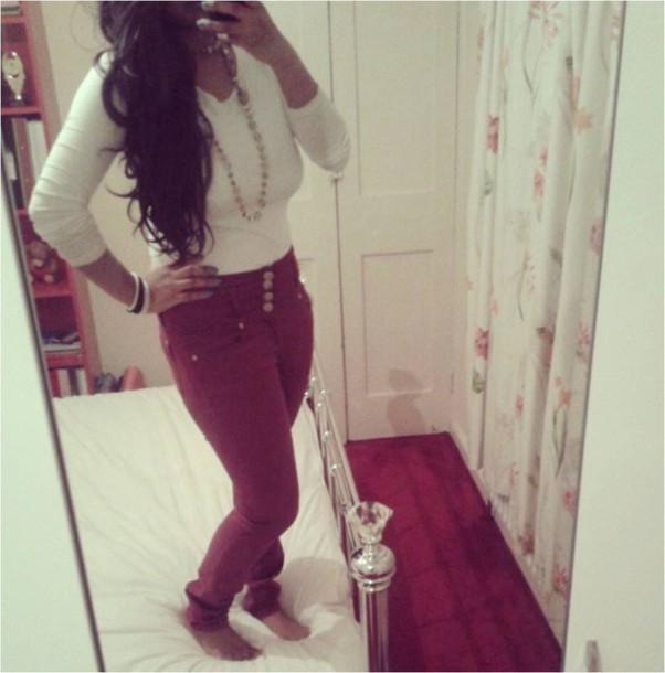 jeans burgundy
