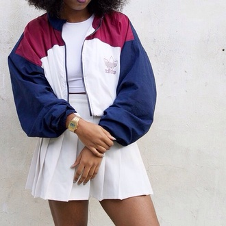 adidas adidas originals bomber jacket 90s style gold watch tennis skirt white skirt mini skirt jacket adidas tracksuit red white blue vintage coat navy adidas bomber jacket wine red adidas jacket vintage jacket windbreaker skirt top old school 90s windbreaker colorful street addias jacket perfect street look