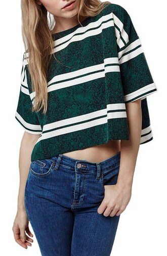 top printed t-shirt green stripes crop tops