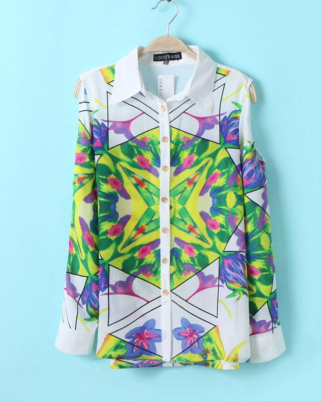 Symmetic Geometric Pattern Printing Shirt, the latest street style collection