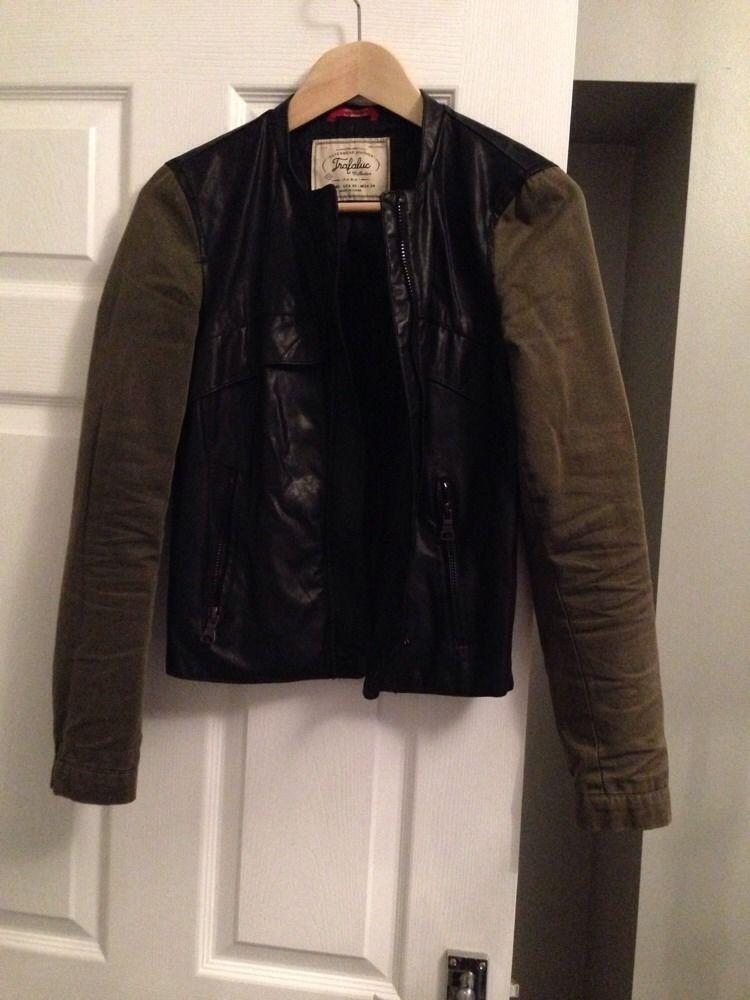 Zara Faux Leather Jacket With Green Arms Size Xs   eBay