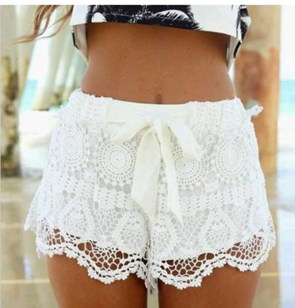 shorts white white lace shorts lace shorts shirt