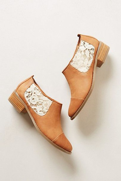 shoes ankle boots leather light brown lace sides lace shoes