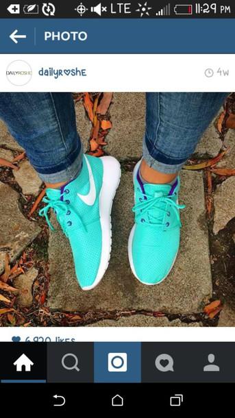 shoes roshe runs turquoise nike sneakers nike shoes