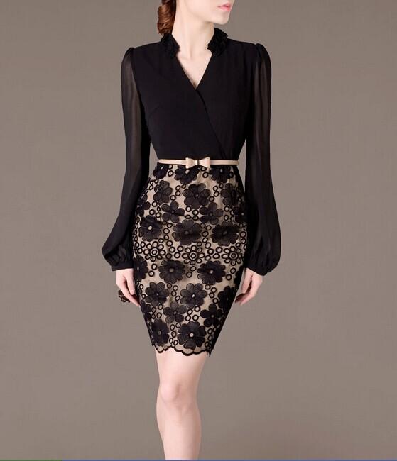 Black Mesh Elegant Noble Summer OL Women Fashion Dress lml7068 - ott-123 - Global Online Shopping for Dresses