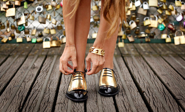shoes gold oxfords majestic cute lovely ootd