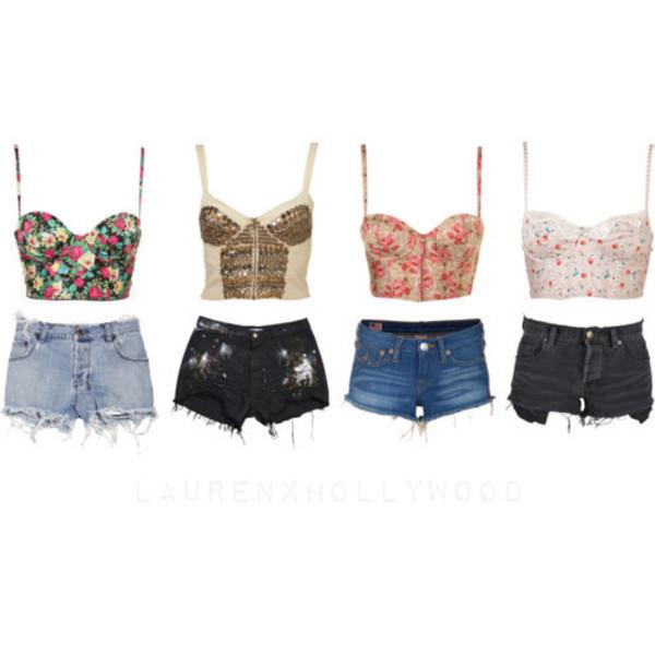 tank top cute floral pattern shorts