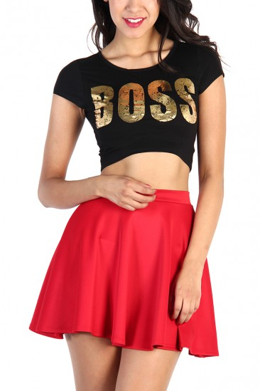 LoveMelrose.com From Harry & Molly | Boss Gold Print Top - Black