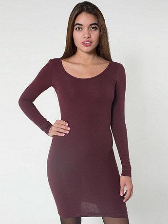 Cotton Spandex Jersey Double U-Neck Long Sleeve Mini Dress | American Apparel