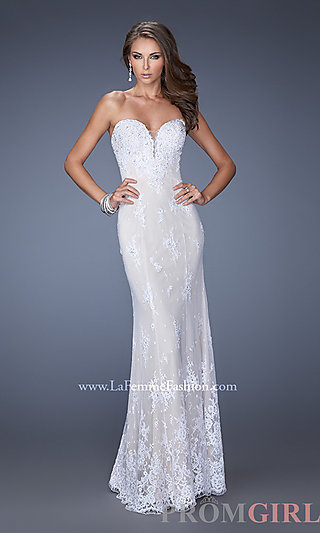 Prom Dresses, Celebrity Dresses, Sexy Evening Gowns - PromGirl: Long Strapless White and Nude Evening Gown