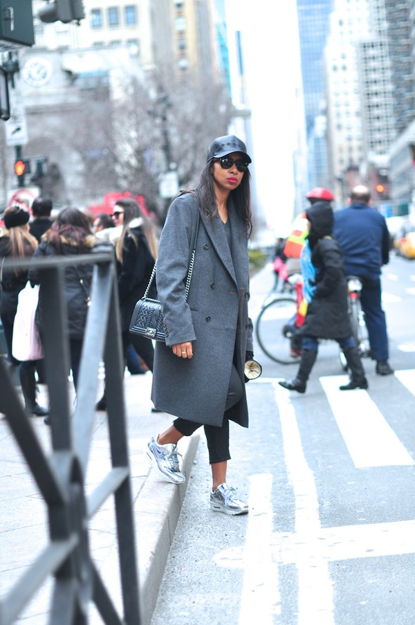 where did u get that coat pants shoes bag masculine coat grey coat cap black pants sneakers silver sneakers grey oversized coat