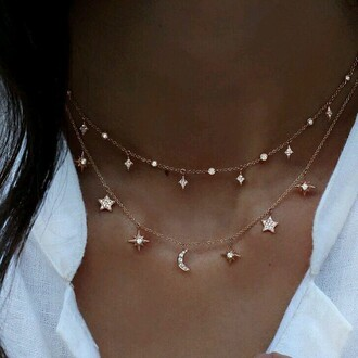 jewels constellation collier etoile lune or fashion cute necklace